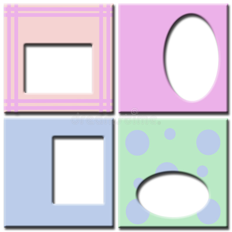 Pastel colored photo frames stock images