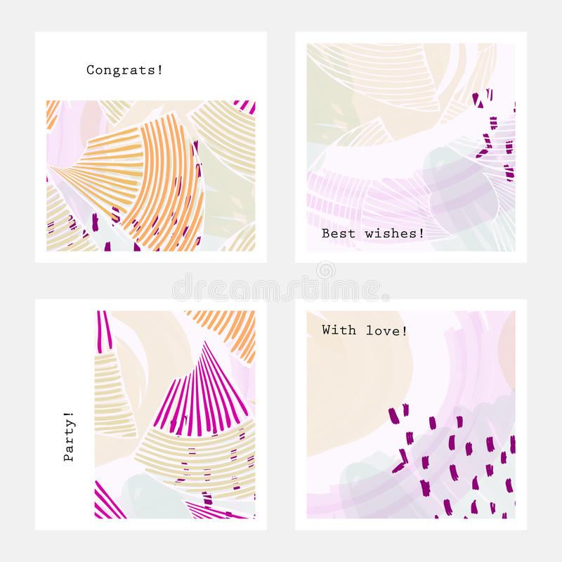 Pastel colored with purple dots. Hand drawn creative invitation greeting cards. Poster, placard, flayer, design templates. Anniversary, Birthday, wedding, party vector illustration