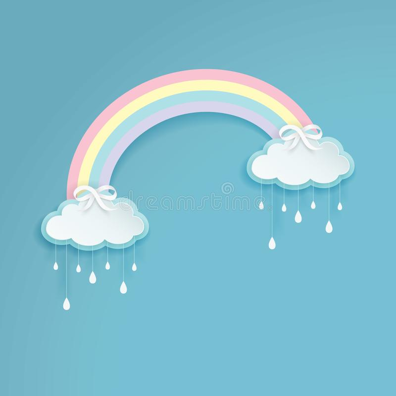 Pastel colored rainbow with cartoon rainy clouds on the blue background. Silver bows with the cloud shape labels. vector illustration