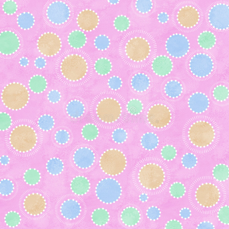 Pastel colored spots on pink background