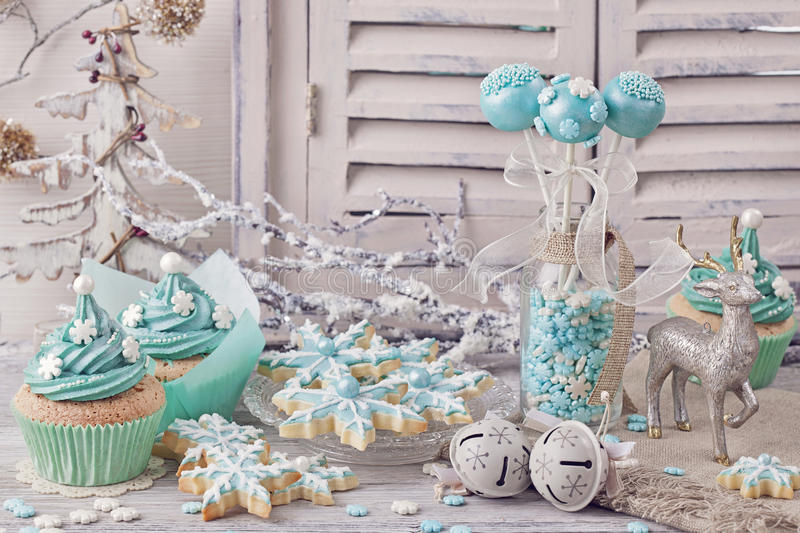 Pastel colored sweets. For christmas stock image