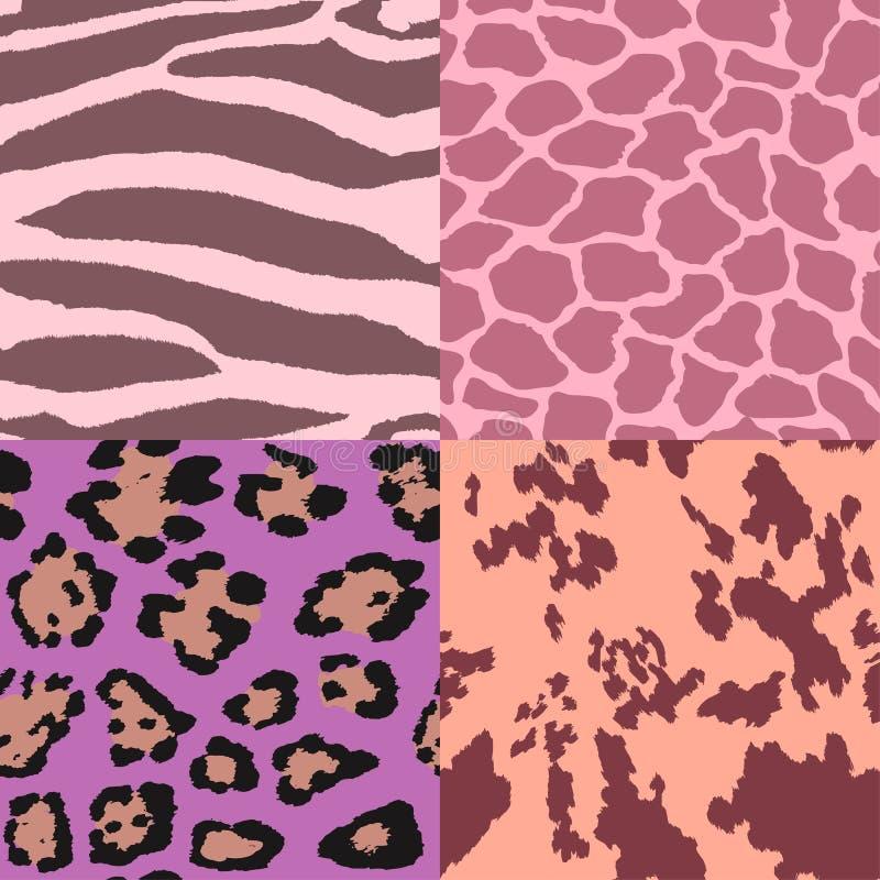Pastel colorful animal fur seamless pattern set. royalty free illustration