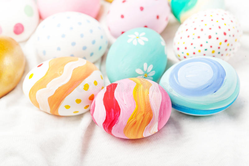 Pastel and colorful easter eggs with copyspace. Happy Easter! royalty free stock photos