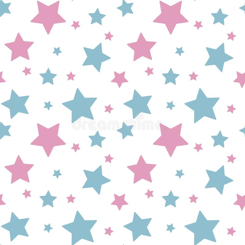 Pastel colorful star pink blue on white background pattern seamless vector.  royalty free illustration