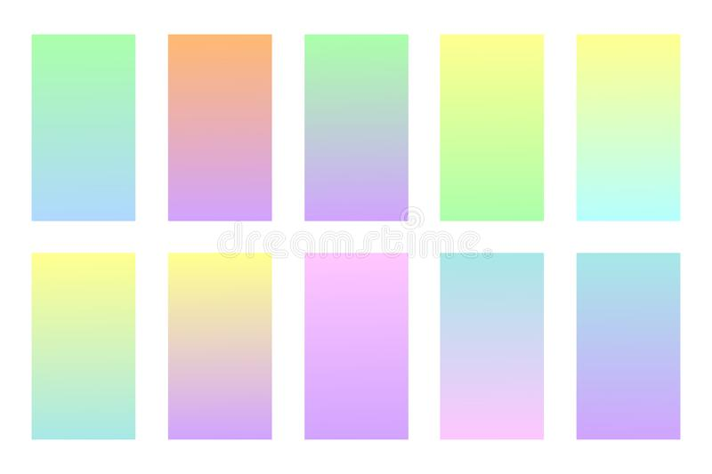 Pastel colors backgrounds set. vector illustration