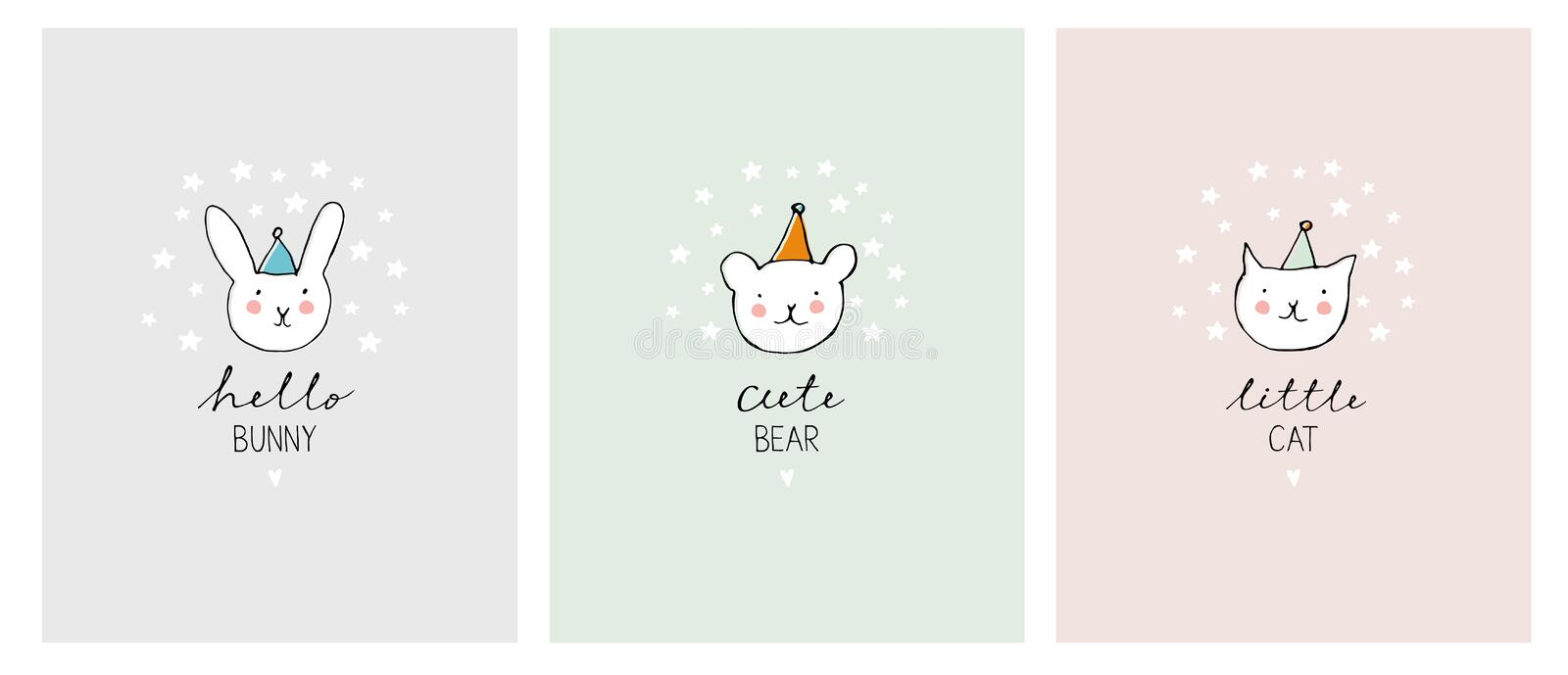 Set of Cute Hand Drawn Decorative Pets Illustration. Adorable Cat, Bunny and Bear. royalty free illustration