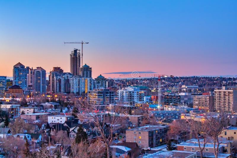 Pastel Sky Colours Over Downtown Calgary. A pastel coloured sky over the downtown Calgary skyline in the early morning royalty free stock image