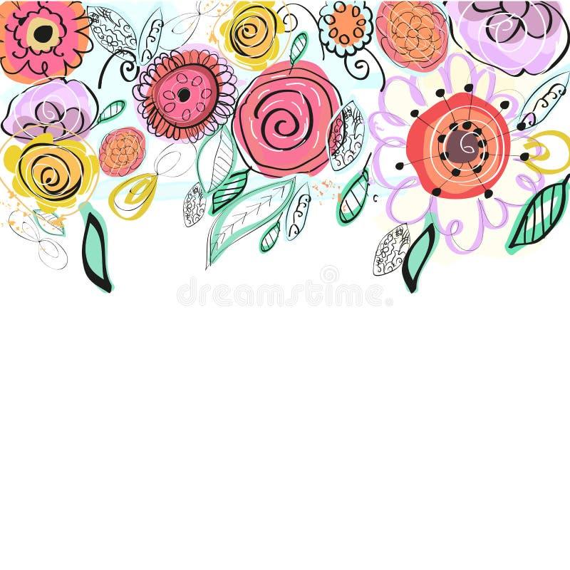 Pastel coloured wiosna kwitnie kartka z pozdrowieniami Dekoracyjny kolorowy kwiecisty wektorowy tło royalty ilustracja