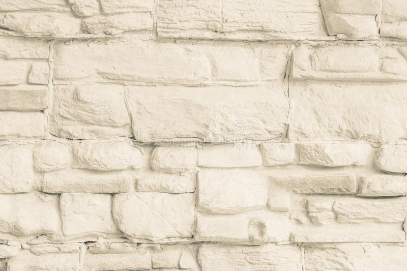 Pastel Cream brick wall texture Interiors background. Gray cement,concrete brushed vintage painted indoor house. Stucco sand stock photography