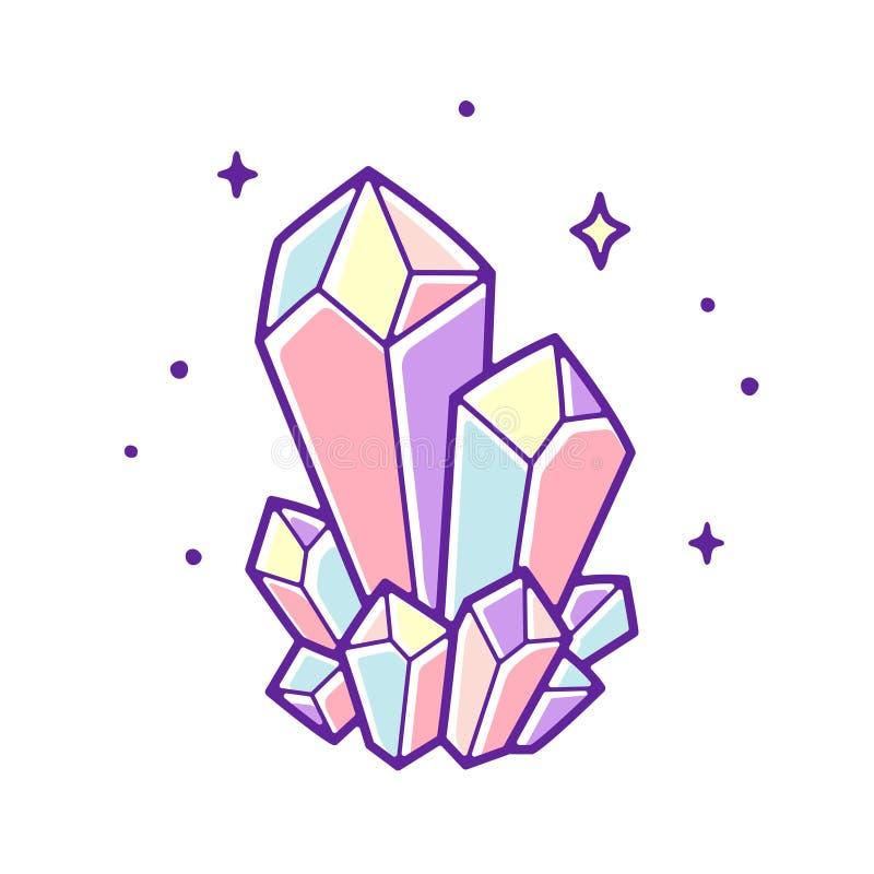 Pastel crystal gems. Beautiful pastel crystals drawing. Hand drawn vector illustration of natural crystal gem stock illustration