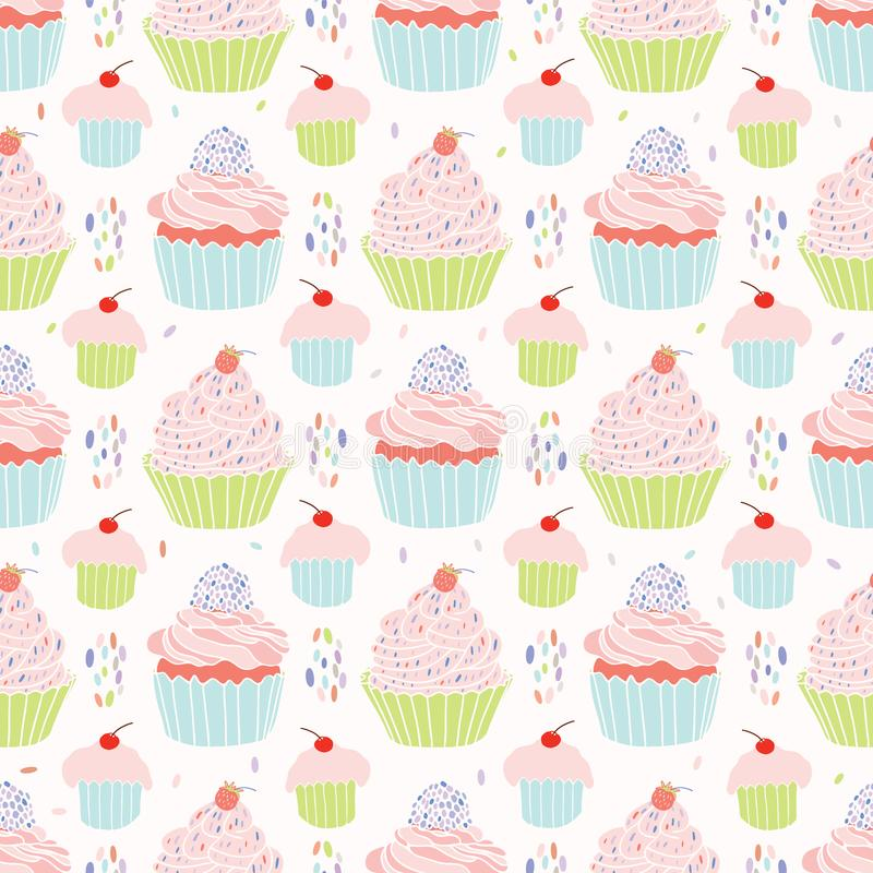 Pastel Cupcakes Food Vector Pattern. Seamless, Hand Drawn Illustration for Party Stationery, Cafe Menu, Bakery Packaging, Gift Wrap Cookery Blog Backgrounds vector illustration