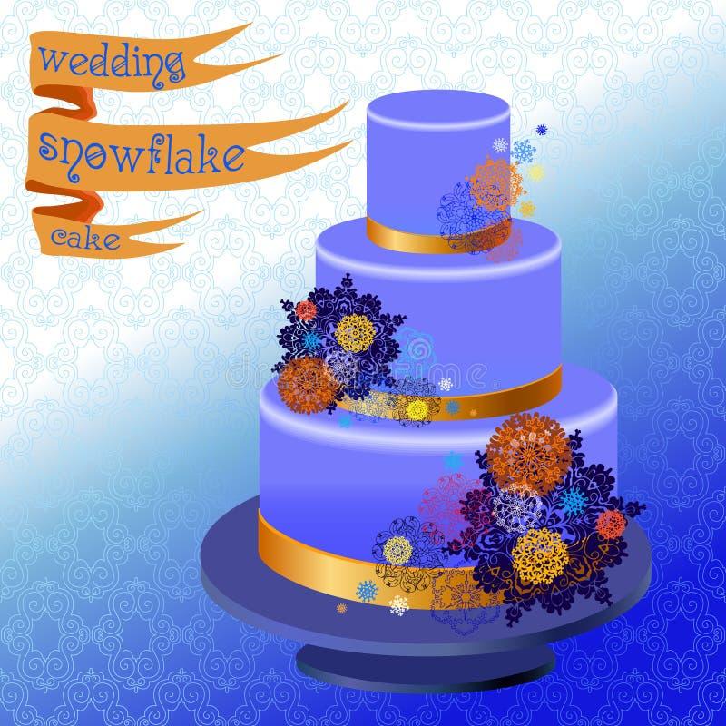 Pastel de bodas con diseño de los copos de nieve del invierno Ilustración del vector ilustración del vector