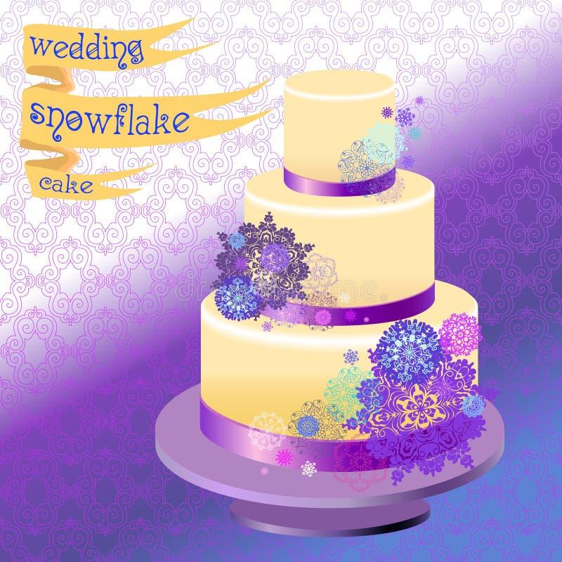 Pastel de bodas con diseño de los copos de nieve del invierno Ilustración del vector stock de ilustración