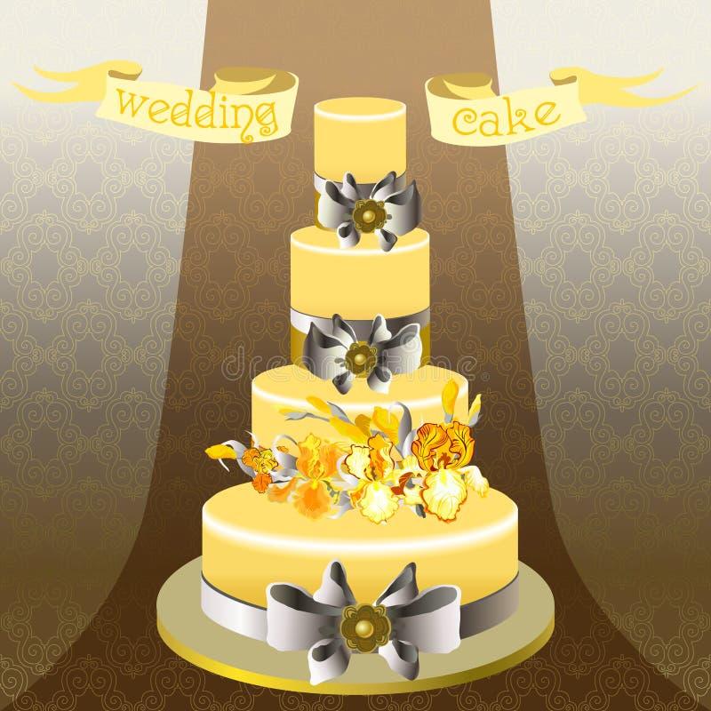 Pastel de bodas con diseño floral del iris amarillo libre illustration
