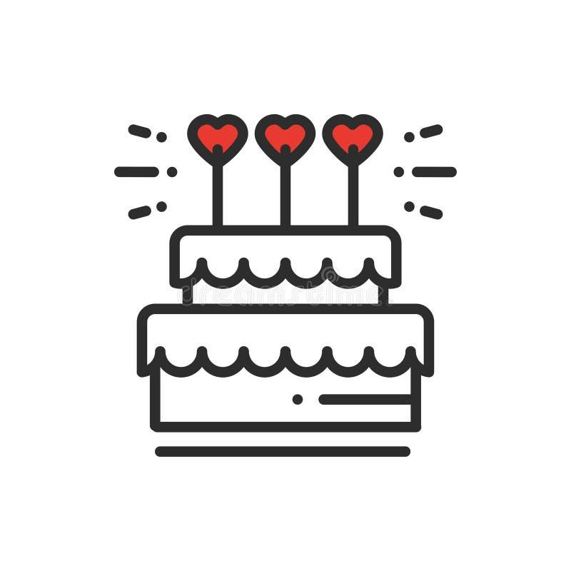Pastel de bodas con la línea icono del primero del corazón Muestra y símbolo de la boda Postre de la empanada Feliz cumpleaños Il stock de ilustración