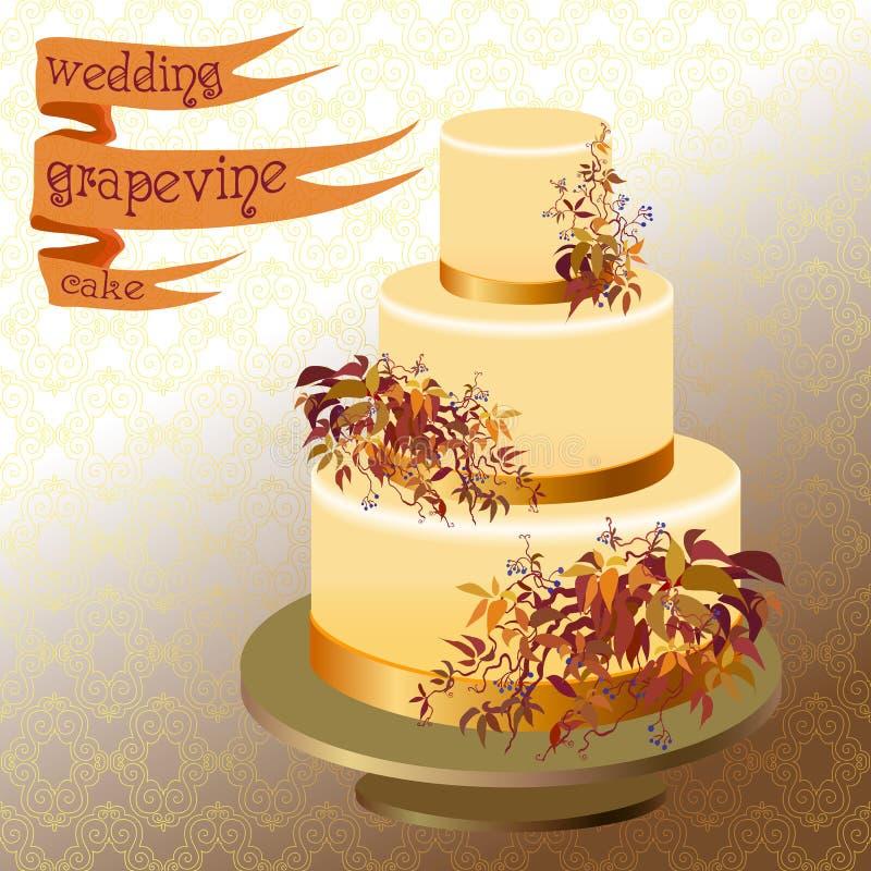 Pastel de bodas con la uva salvaje del otoño Diseño de oro ilustración del vector