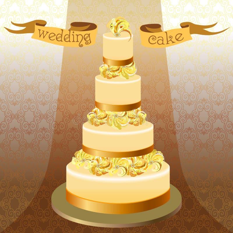 Pastel de bodas con las plumas del pavo real Alto diseño amarillo de oro libre illustration