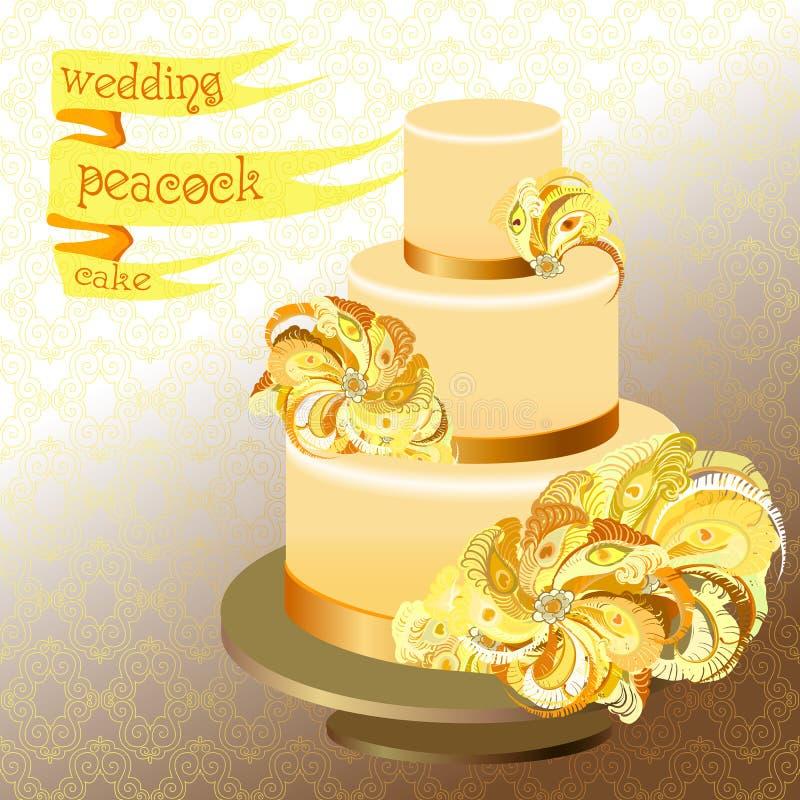 Pastel de bodas con las plumas del pavo real Diseño amarillo de oro ilustración del vector