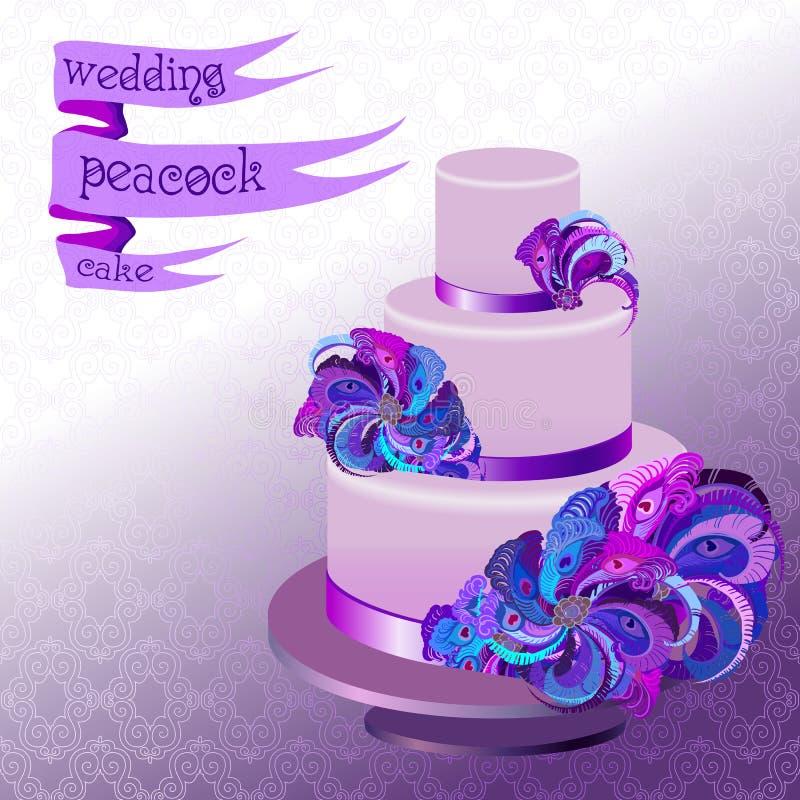 Pastel de bodas con las plumas del pavo real Diseño púrpura violeta libre illustration