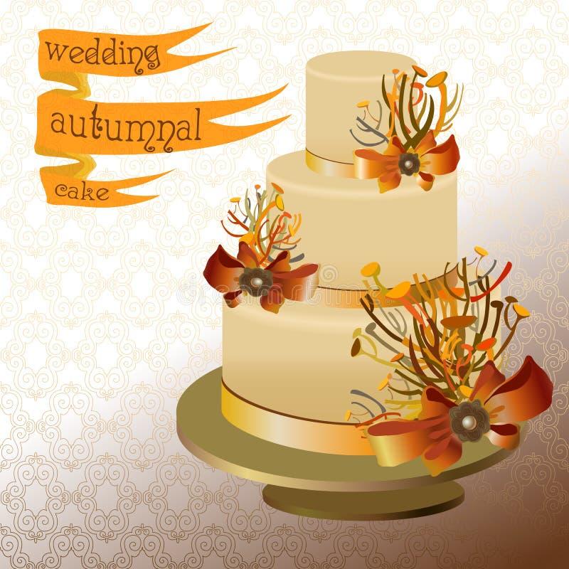 Pastel de bodas con las ramitas del otoño Diseño del amarillo de oro, anaranjado stock de ilustración