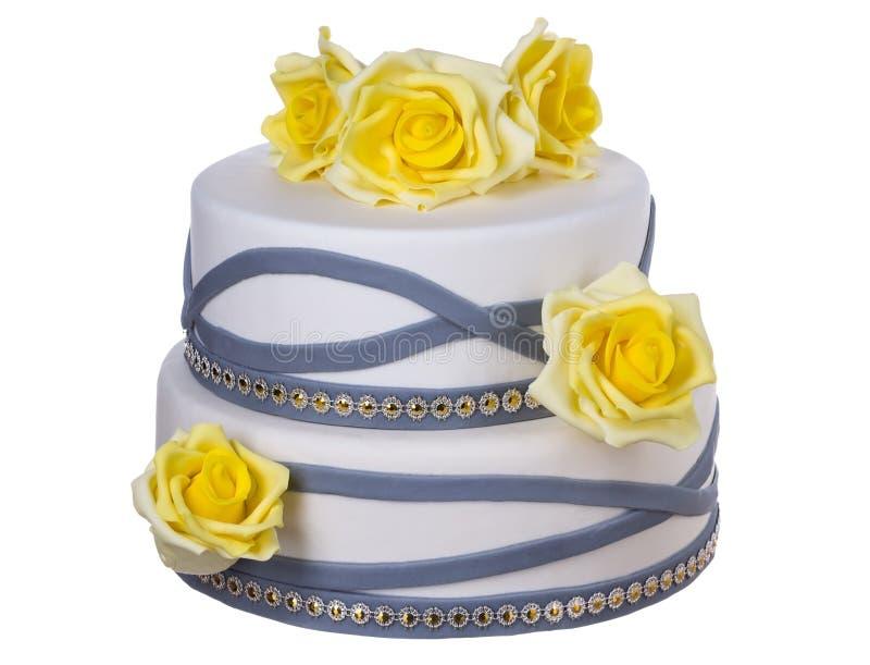 Pastel de bodas de rosas amarillas fotos de archivo libres de regalías