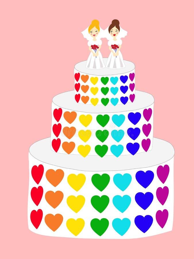 Pastel De Bodas Para Las Lesbianas Ilustración del Vector ...