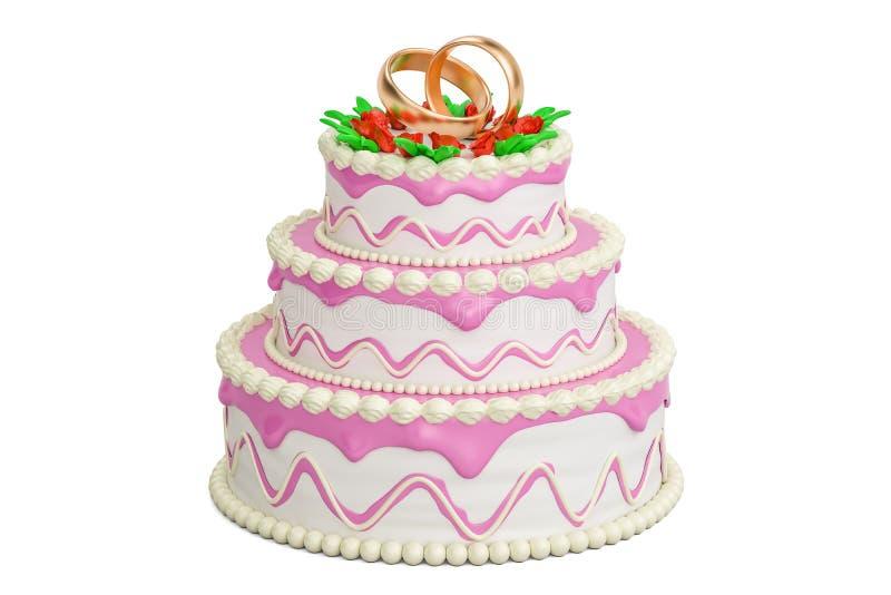 Pastel de bodas, representación 3D ilustración del vector