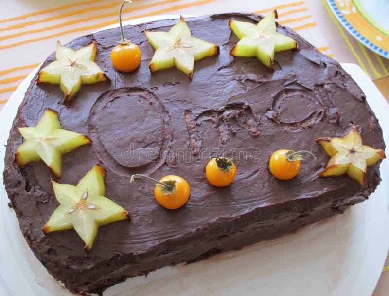 Pastel de capas del cumpleaños con las rebanadas de la formación de hielo y de la fruta del chocolate imagenes de archivo