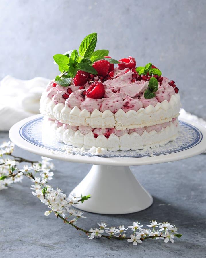 Pastel de capas del merengue con crema fresca de la frambuesa imagenes de archivo