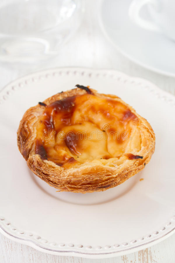 Pastel de nata. On the plate royalty free stock photo