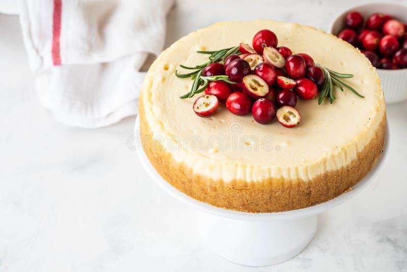 Pastel de queso clásico de Nueva York con el arándano, el romero y el té en el fondo concreto blanco, spase de la copia té y imagen de archivo libre de regalías