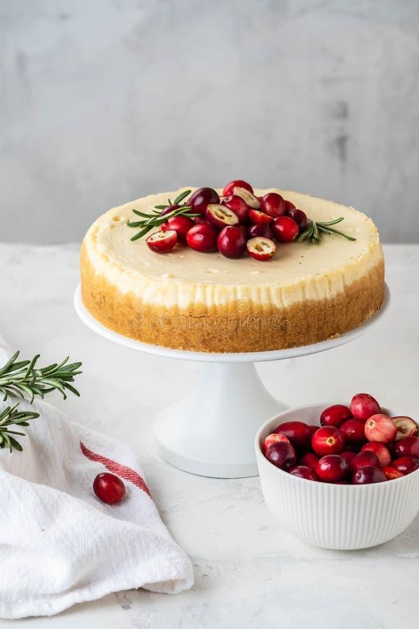 Pastel de queso clásico de Nueva York con el arándano, el romero y el té en el fondo concreto blanco, spase de la copia té y fotografía de archivo