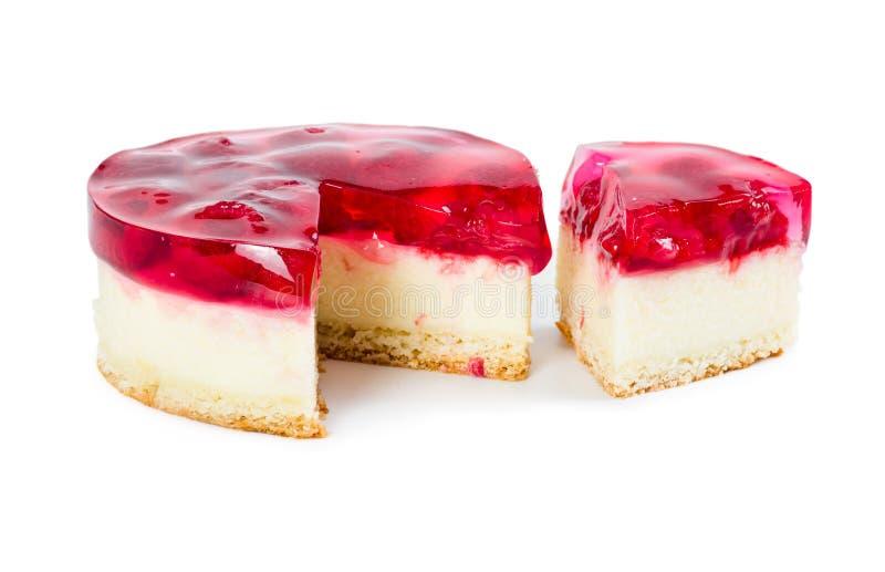 Pastel de queso con la jalea de la frambuesa imagenes de archivo