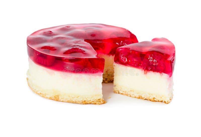 Pastel de queso con la jalea de la frambuesa fotografía de archivo