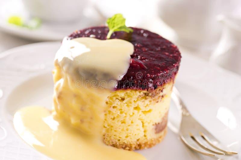 Pastel de queso con la salsa de la vainilla foto de archivo