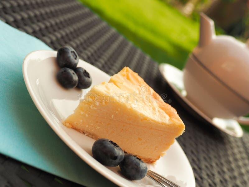 Pastel de queso con los arándanos fotografía de archivo libre de regalías