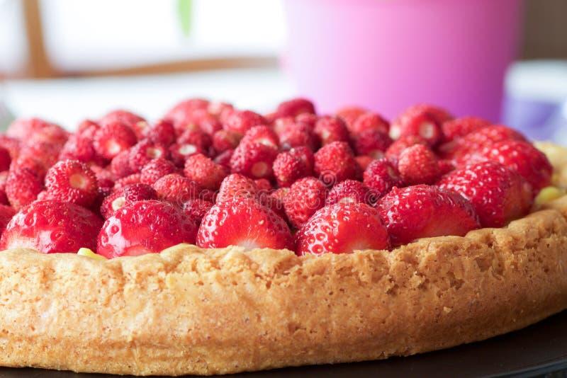 Pastel de queso de la fruta con la fresa salvaje fotografía de archivo libre de regalías