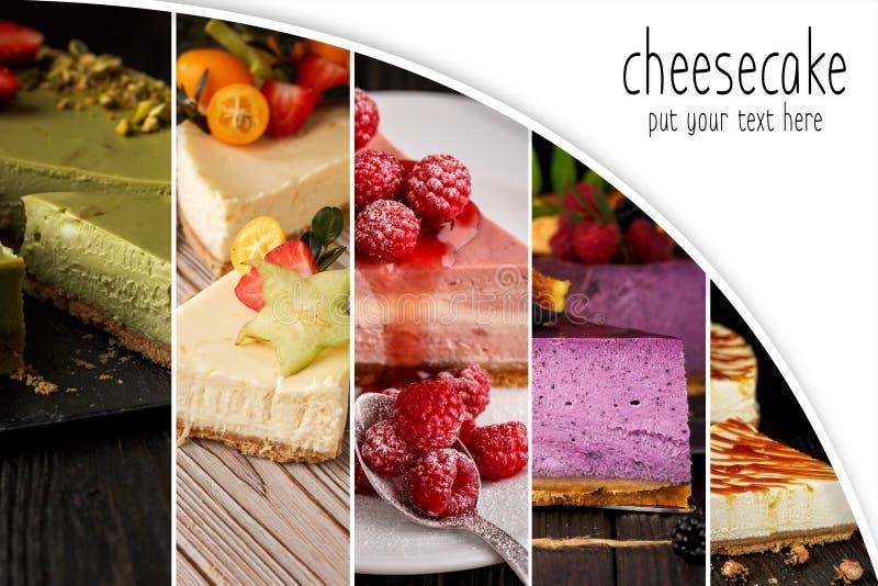 Pastel de queso del collage con el espacio de la copia Torta Alimento imagenes de archivo