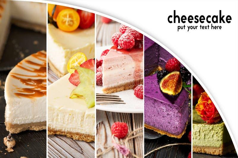 Pastel de queso del collage con el espacio de la copia Torta Alimento fotografía de archivo