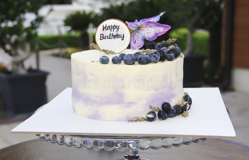 Pastel de queso festivo de la torta de la galleta con los arándanos y las mariposas para el cumpleaños fotos de archivo libres de regalías