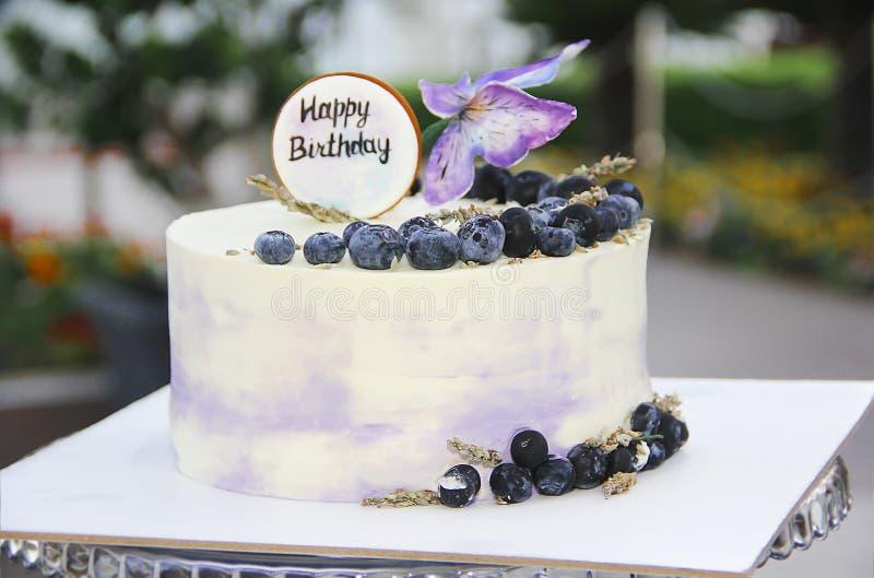 Pastel de queso festivo de la torta de la galleta con los arándanos y las mariposas para el cumpleaños fotos de archivo