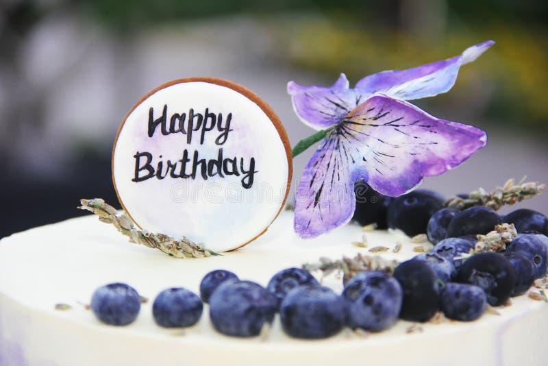 Pastel de queso festivo de la torta de la galleta con los arándanos y las mariposas para el cumpleaños imagen de archivo libre de regalías