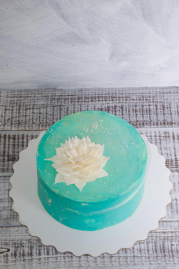 Pastel de queso de la crema de Tiffany con la flor del chocolate fotos de archivo libres de regalías