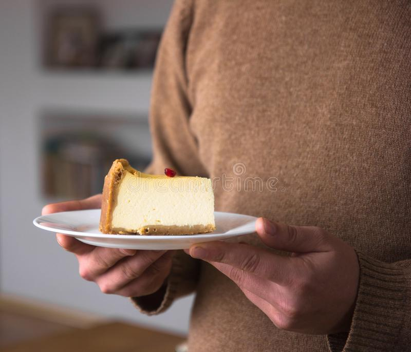 Pastel de queso de la naranja de la Navidad Receta tradicional de la torta del invierno del pastel de queso festivo de la Navidad foto de archivo