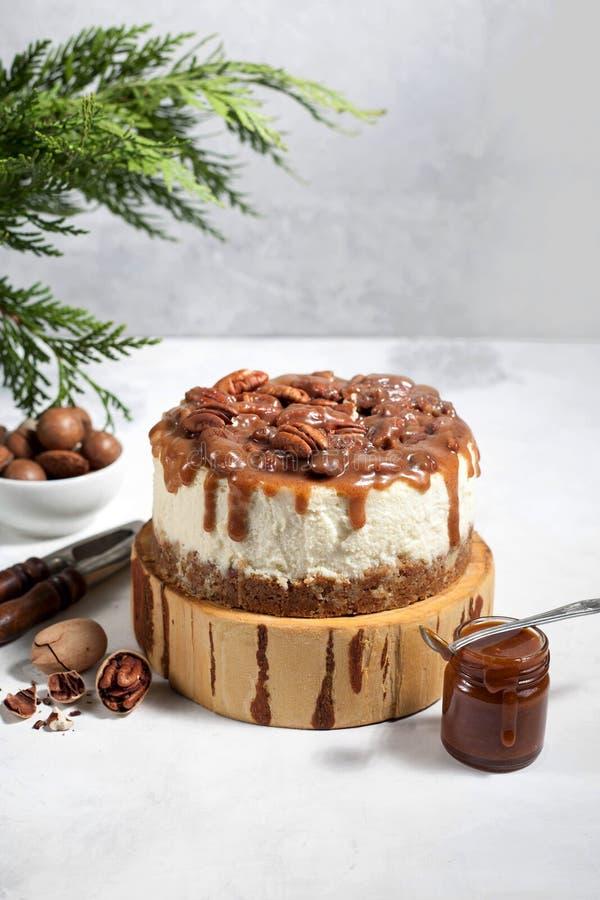 Pastel de queso de la Navidad con las pacanas y la salsa del caramelo foto de archivo libre de regalías