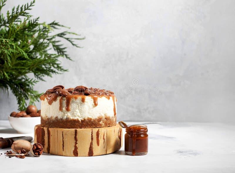 Pastel de queso de la Navidad con las pacanas y la salsa del caramelo fotos de archivo libres de regalías