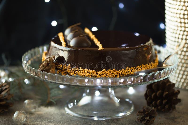 Pastel de queso de la Navidad con mascarpone Receta tradicional de la torta del invierno del pastel de queso festivo de la Navida fotos de archivo libres de regalías