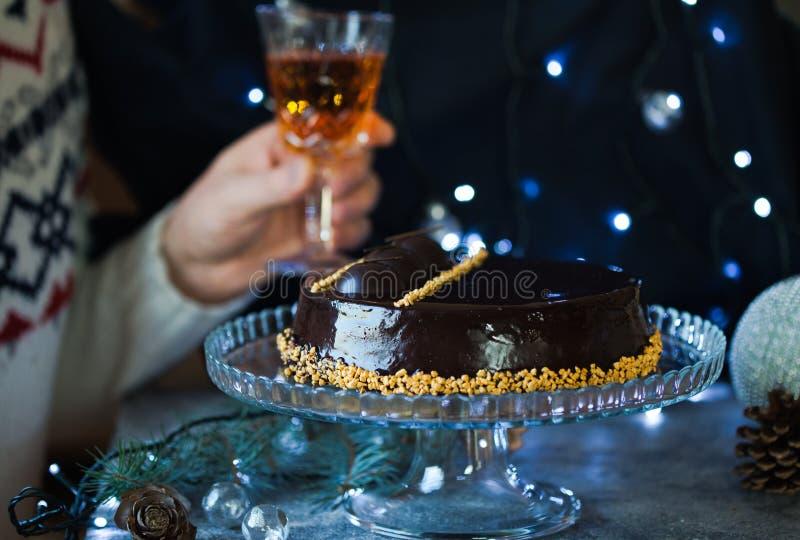 Pastel de queso de la Navidad con mascarpone Receta tradicional de la torta del invierno del pastel de queso festivo de la Navida imagen de archivo