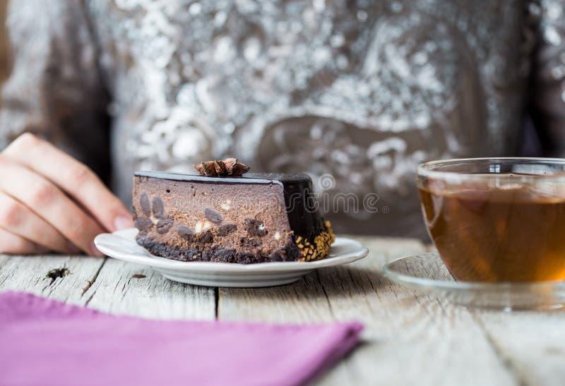 Pastel de queso de la Navidad con mascarpone Receta tradicional de la torta del invierno del pastel de queso festivo de la Navida imágenes de archivo libres de regalías