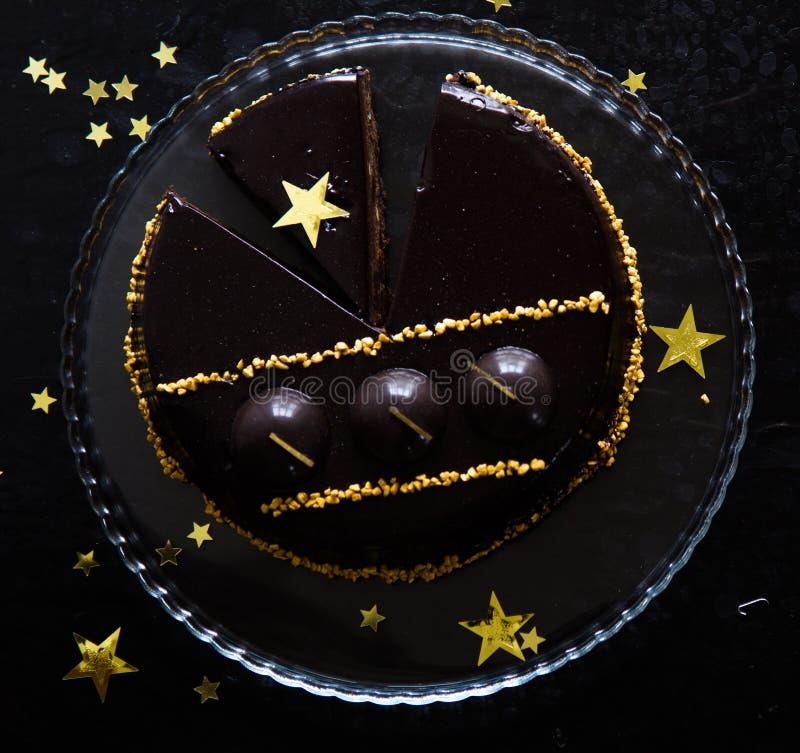 Pastel de queso de la Navidad con mascarpone Receta tradicional de la torta del invierno del pastel de queso festivo de la Navida fotografía de archivo libre de regalías